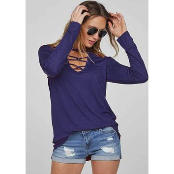 Long Sleeve Caged Neck Top, Two Colors