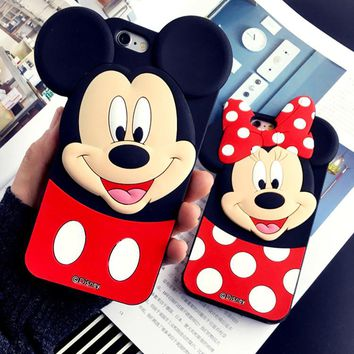 3D Cartoon Cute Mickey Minnie Ears Soft Silicone TPU Rubber Case on For IPhone X 4 4s 5 5s 5c SE 6 6s plus 7 plus 8/8 Plus kids Case