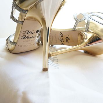 Custom Personalized Wedding Bridal Shoe Decal Name Date Heart Shoe Stickers