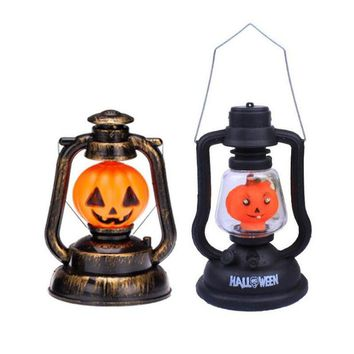 1pcs/lot Horror Props Creative Night Lamp Pumpkin Ghost Switch Horse Lantern With Lampshade Halloween Ornament For Party Dec