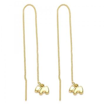 Gold Layered 5.117.009 Long Earring, Dog Design, Golden Tone