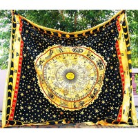 Zodian Horoscope Astrology Tapestry Bedspread Wall Hanging Meditation Throw
