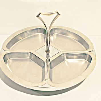 Vintage stainless steel Kromex Lazy Susan - appetizer try, chips and dip server, candy dish, nut bowl
