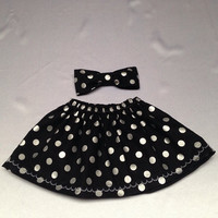 Baby Girl Black and Silver Polka dots, Little girl Skirt, Childs Skirt, NicolasSewing, Shower Gift, xmas gift, newyears