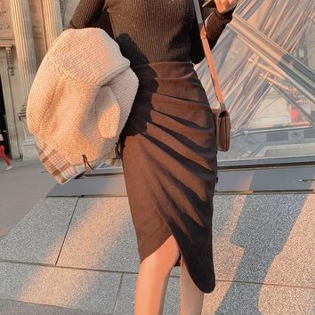 MISHOW 2019 Autumn Winter Pleated Skirt Women Causal Solid High Waist Knee-Length Skirt MX19C1858
