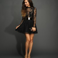 Sale-black Mockneck Lace Dress