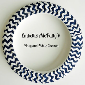 Navy and White Chevron Steering Wheel Cover
