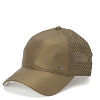 True Religion Metallic Lambskin Baseball Cap - Gold
