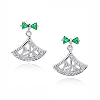 Green Trilliant and Round Cubic Zirconia Earrings