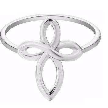 Silver Plated Infinity Cross Shape Fashion Ring (7)