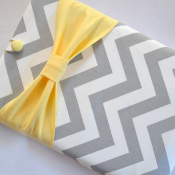 "Macbook Air 11 Sleeve MAC Macbook 11"" inch Laptop Computer Case Cover Grey & White Chevron with Yellow Bow"