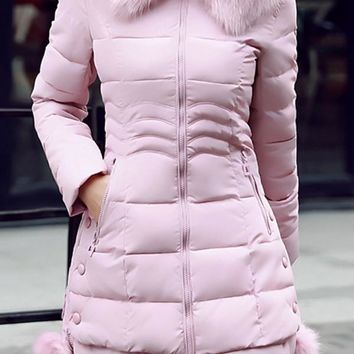 Pink Pockets Fuzzy Hooded Long Sleeve Going out Coat