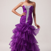 Purple Beaded  Layered Ruffles Strapless Mermaid Prom Dress