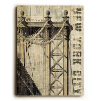 Vintage NY Manhattan Bridge by Artist Michael Mullan Wood Sign