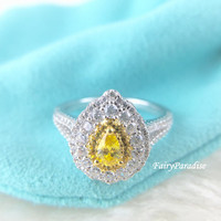 Pear Cut Two Tone Halo Art Deco Engagement Rings / Promise Ring, 0.3 ct Yellow Oval Cut Man Made Diamond Center Stone, Unique Vintage Style