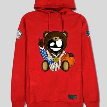Entree LS Olympic Teddy Bear Red Hoodie Sweatshirt