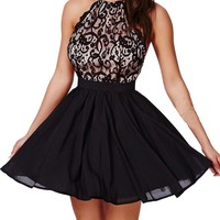 Sexy Womens Fashion Lace Mesh Straps Party Skater Dress