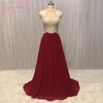SuperKimJo Vestido De Festa Burgundy Beaded Prom Dresses 2018 A Line Halter Cheap Prom Gown Robe De Soiree Longue 2017