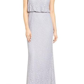 Adrianna Papell - AP1E201290 Sleeveless Lace Blouson Evening Gown