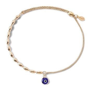 Alex and Ani Evil Eye Fancy Bead Pull Chain Bracelet - Gold Plated