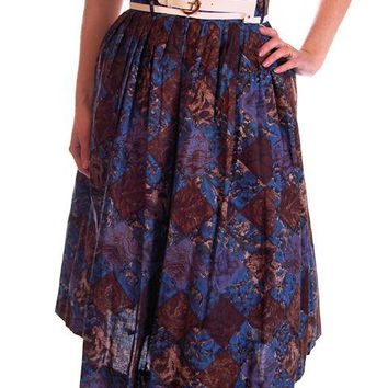 Vintage Skirt Brown & Dia Blue Cotton Print Diamonds NOS 1950S 24""