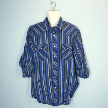 Vintage 80s Mens Western Shirt / Pearl Snap Shirt / Striped Cowboy Shirt / L