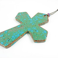 Handmade Ceramic Wall Cross - Rustic Cross - Ceramic Wall Art - Spiritual Art