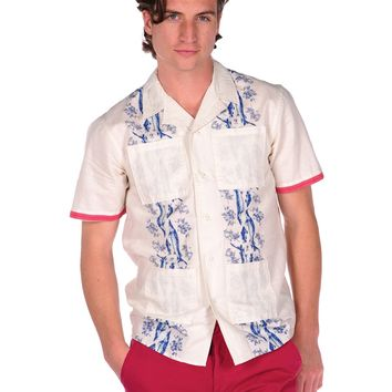 Under Two Flags Roses Guayabera Button Down Shirt - Antique White