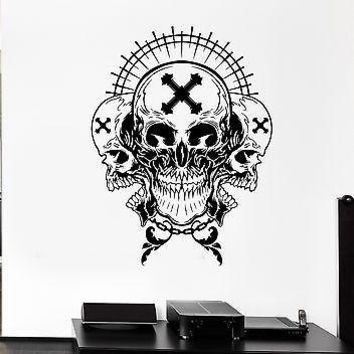 Wall Decal Skull Skeleton Cross Cemetery Death Monster Vinyl Stickers Unique Gift (ed148)