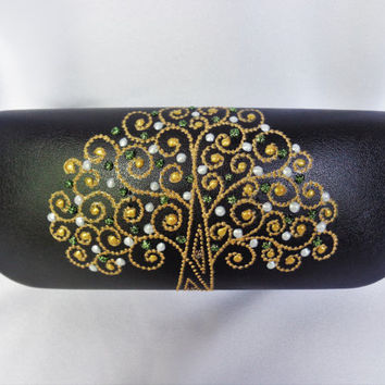Glasses case Hand painted case Tree of life decor Tree of life case Bohemian case