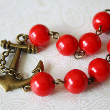 Red Bracelet - Anchor Bracelet with Anchor Charm - Marine Bracelet - Nautical Jewelry