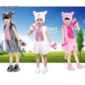 DCCKH6B KTL PARTY children kid girl party cosplay white grey pink pig costume with long tail  hat shoes clothes