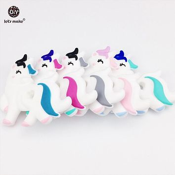 Let's Make 5pc Cute Chewable Silicone Unicorn Baby Teether Lovely Diy Teething Necklace Accessories Food Grade Silicone Teether