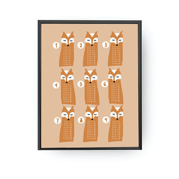Fox Multiplication Table, Math Art, Kids Print, Educational Chart, Classroom Sign, Kids Education, Nursery Print, Playroom Art, Kids Decor