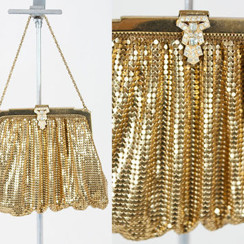 Vintage 40s Purse / 1940s Whiting and Davis Gold Mesh Evening Bag with Rhinestone Clasp