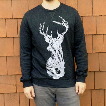 Deer Head + Antlers Wildlife Tree Silhouette // Dark Heather Gray  White Minimalist // Mens Lightweight Crewneck Sweatshirt Pullover Sweater