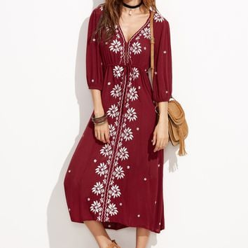 Drawstring Waist Embroidered Peasant Dress