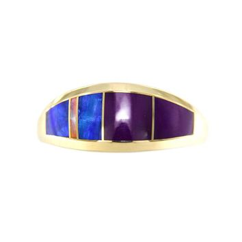 Sugilite and Opal Ring in 14k Gold Setting - Size 6.75