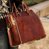 Handmade Women's Leather Handbag / Leather Briefcase / Leather Messenger Bag / Men's Leather Handbag in Oil Wax Leather D36