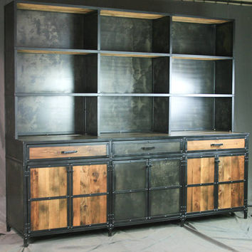 Industrial Credenza with Hutch. Rustic Bar with Shelving. Vintage Industrial Buffet. Reclaimed Wood. Industrial Display Shelf. Sideboard.