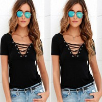 Summer Women's Fashion Sexy V-neck Bandages Short Sleeve Tops T-shirts