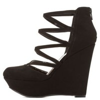 Qupid Strappy Caged Wedges by Charlotte Russe - Black
