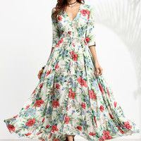 Multicolor Floral Print Drawstring Button Front Dress