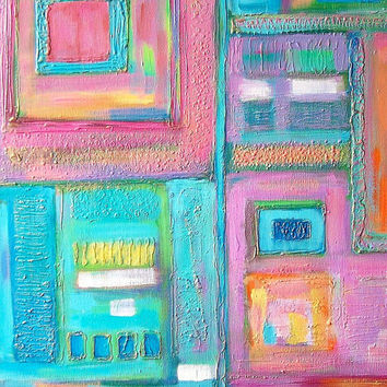 Abstract art print, limited edition A4 colorful art picture, mixed media wall art