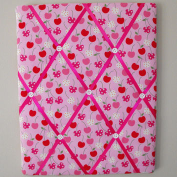 "20""x16"" French Memo Board / Cherries / Anne Kelle / Metro Market / kitchen / decor / girl / dorm / bedroom"
