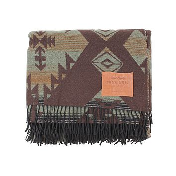 Palamino Fringe Blanket in Olive by True Grit