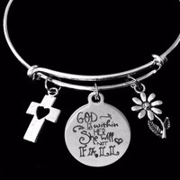 God in Within Her She Will Not Fall Adjustable Bracelet Silver Expandable Charm Bangle One Size Fits All Inspirational Gift Cross Daisy Flower