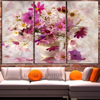 Large Wall Art Oil Painting Flowers in Vase Canvas Prints - Pink Daisy Flower Canvas Art Print - Framed and Streched Crisp Prints - MC230