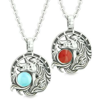 Unicorn Best Friends or Love Couples Amulets Lucky Horse Shoe Red Baby Blue Pendant Necklaces