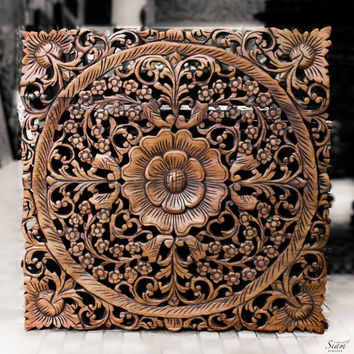 Floral wood wall art decor asian wall decorated 2 x2 ft brown